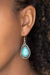 Paparazzi Abstract Anthropology - Teardrop Turquoise Stone Twisting Silver Frame Earrings - Bling It On Online