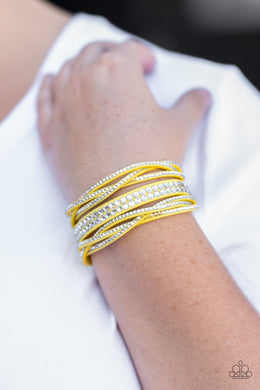 Paparazzi All Hairspray and Glitter - Yellow Bracelet - Bling It On Online