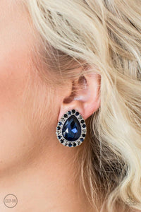Paparazzi All HAUTE and Bothered - Blue Teardrop Gem Multi Rhinestone Silver Clip On Earrings - Bling It On Online