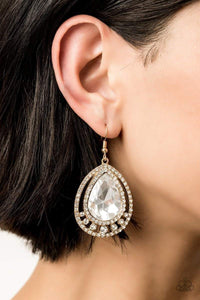 Paparazzi All Rise For Her Majesty – White Rhinestone Teardrop Gold Earrings - 2019 Exclusive Convention Collection - Bling It On Online