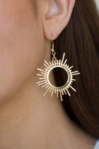 Paparazzi All Sizzle - Sunburst Pattern Gold Earrings - Bling It On Online