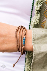 Paparazzi Always Up for Adventure - Brown Suede Blue Bead Bracelet - Bling It On Online