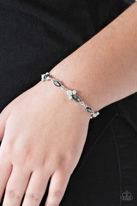 Paparazzi At Any Cost - White and Marquise Smoky Rhinestone Bracelet - Bling It On Online