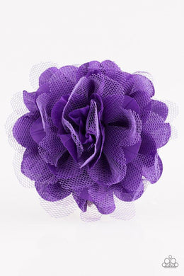 Paparazzi Awesome Blossom - Purple Netting and Fabric Blossom Hair Clip - Bling It On Online