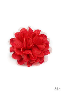 Paparazzi Awesome Blossom - Red Netting and Fabric Blossom Hair Clip - Bling It On Online