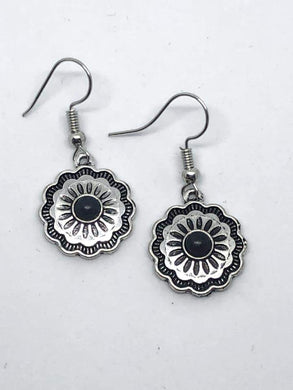 Paparazzi Badlands Buttercup - Black Stone Antiqued Silver Floral Frame Earrings - Bling It On Online