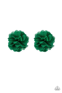 Paparazzi Basket Full Of Posies - Green Chiffon Airy Petal Blossom Hair Clip - Bling It On Online