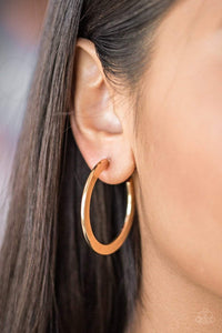 Paparazzi Be All BRIGHT - Flat Gold Hoop Earrings - Bling It On Online