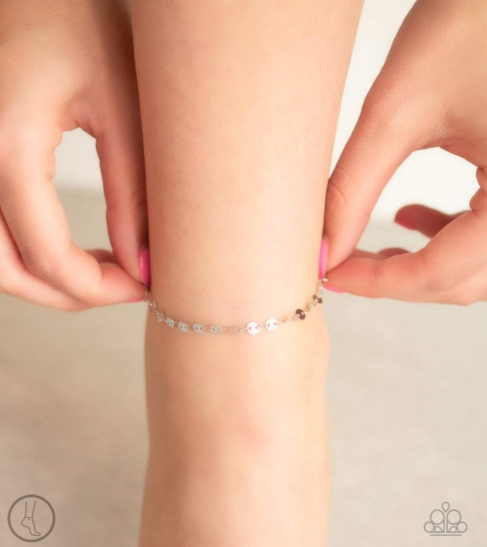 Paparazzi Beach Shimmer - Silver Discs Anklet Bracelet - Bling It On Online