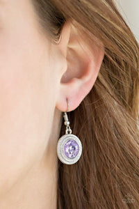 Paparazzi Beginners LUXE - Purple Gem Textured Round Silver Frame Earrings - Bling It On Online