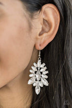 Load image into Gallery viewer, Paparazzi Billion Dollar Boss - Marquise White Rhinestone and White Gem Earrings - Bling It On Online