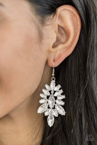 Paparazzi Billion Dollar Boss - Marquise White Rhinestone and White Gem Earrings - Bling It On Online
