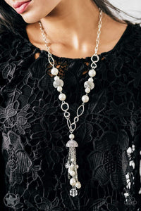 Paparazzi Blockbuster Designated Diva - Rhinestone Ivory Pearl Silver Necklace - Bling It On Online