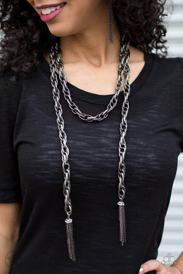Paparazzi Blockbuster SCARFed for Attention - Gunmetal - Bling It On Online