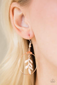 Paparazzi Branching Into Boho - Leafy Branch Rose Gold Hoop Earrings - Bling It On Online