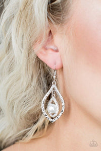 Paparazzi Breaking Glass Ceilings - Hammered Marquise Silver Frame White Pearl White Rhinestone Earrings - Bling It On Online
