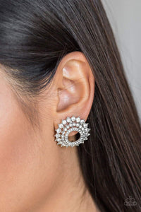 Paparazzi Buckingham Beauty - Encrusted White Rhinestone Stacked Silver Frame Earrings - Bling It On Online