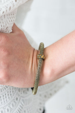 Paparazzi CACHE Or Card? - Brass Mesh Bangle Encrusted Aurum Rhinestone Brass Ring Bracelet - Bling It On Online
