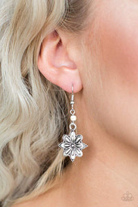 Paparazzi Cactus Blossom - Silver Flower White Stone Earrings - Bling It On Online