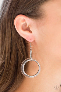 Paparazzi Circus Circuit - Silver and Clear Hoop Earrings - Bling It On Online