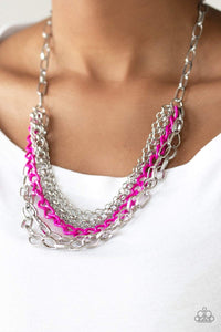 Paparazzi Color Bomb - Layered Silver Chains Pink Finish Accent Chain Necklace - Bling It On Online
