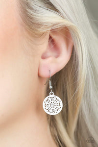 Paparazzi Colorfully Capricious - White Finish Ornate Frame White Rhinestone Center Earrings - Bling It On Online