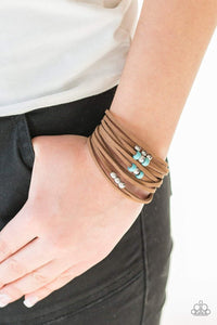 Paparazzi Colorfully Coachella - Turquoise Stone Bead Brown Suede Layered Bracelet - Bling It On Online