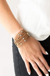 Paparazzi Colorfully Coachella - Yellow Wooden Bead Brown Suede Layered Bracelet - Bling It On Online