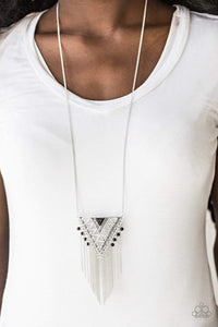 Paparazzi Colorfully Colossal - Stamped Geometric Triangular Black Stone Pendant Silver Chain Necklace - Bling It On Online