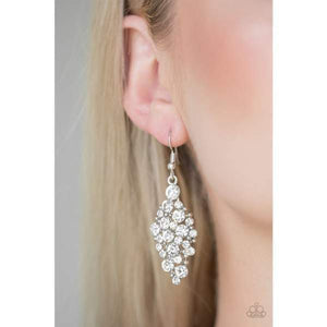 Paparazzi Cosmically Chic - White Earrings - Bling It On Online