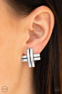 Paparazzi Couture Crossover - Silver Earrings - Bling It On Online