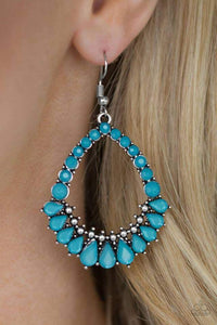 Paparazzi Crystal Waters - Teardrop and Round Blue Crystal Bead Teardrop Frame Earrings - Bling It On Online