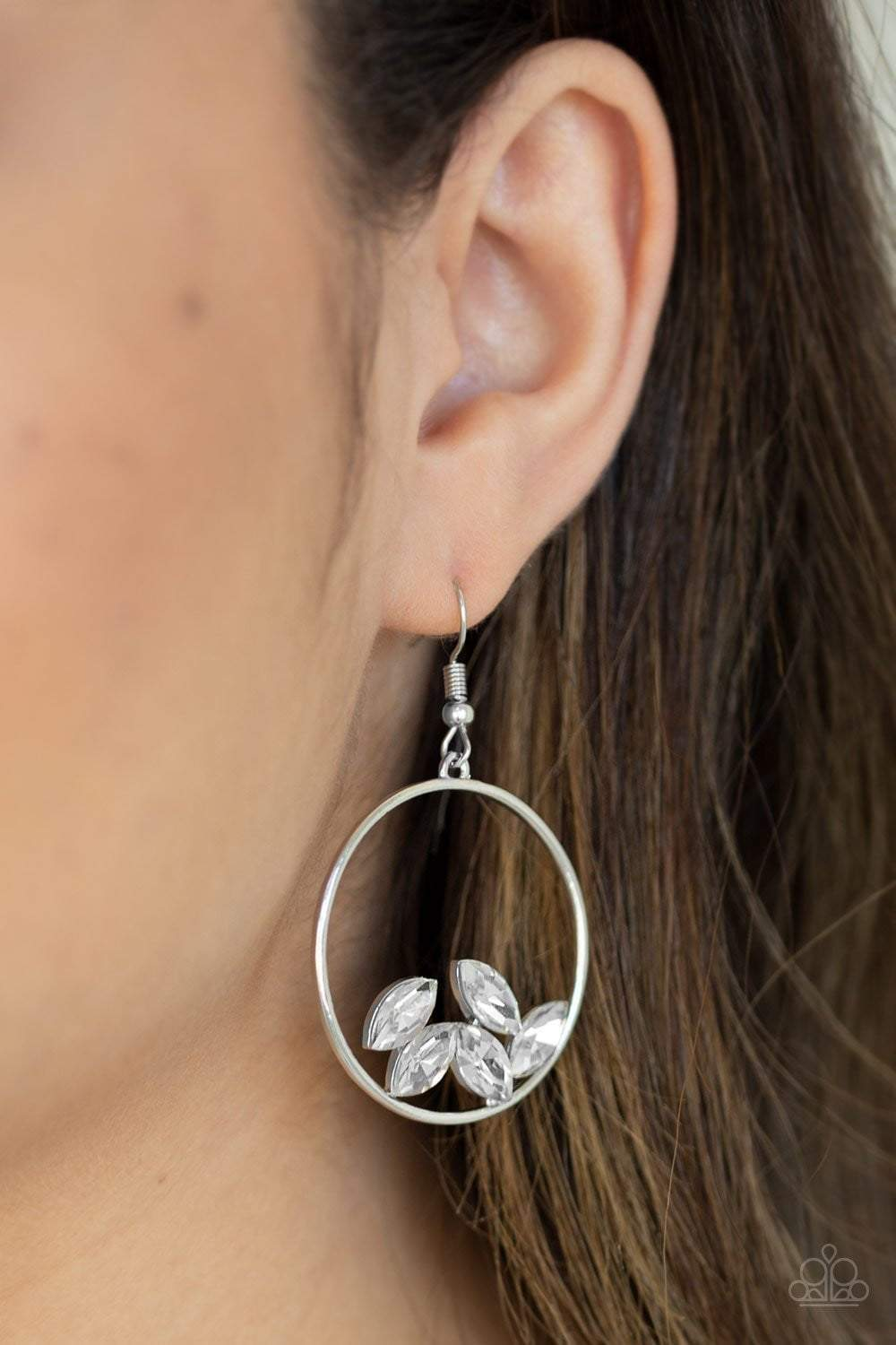 Paparazzi Cue The Confetti - White Earrings - Bling It On Online