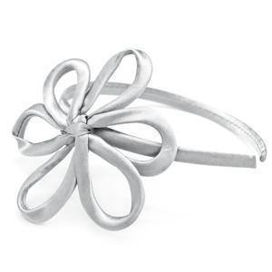 Paparazzi Daisies For Days - Silver Satin Daisy Headband - Bling It On Online