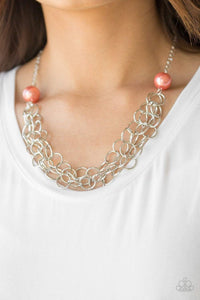Paparazzi Daring Diva - Orange Pearl Silver Chain Necklace - Bling It On Online