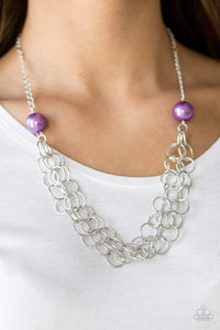 Paparazzi Daring Diva - Purple Pearl Silver Chain Necklace - Bling It On Online