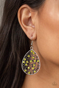 Paparazzi Dazzling Dew - Dotted Silver Filigree Teardrop Frame Yellow Rhinestone Earrings - Bling It On Online