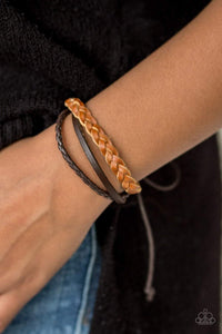Paparazzi Desert Drive - Braided and Mismatched Brown Leather Band Bracelet - Bling It On Online