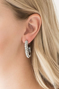 Paparazzi Dont Mind The STARDUST - Encrusted White Rhinestone Gunmetal Hoop Earrings - Bling It On Online