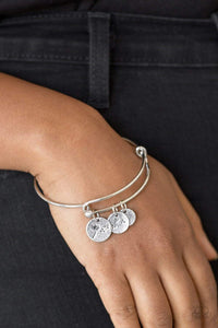 Paparazzi Dreamy Dandelions - Stamped Dandelion Charms Silver Bracelet - Bling It On Online