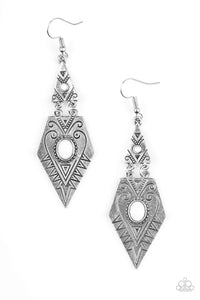 Paparazzi Drifting Dunes - Stamped Silver Geometric Frame White Bead Center Earrings - Bling It On Online