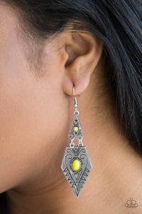 Paparazzi Drifting Dunes - Stamped Silver Geometric Frame Yellow Bead Center Earrings - Bling It On Online