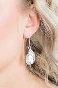 Paparazzi Easy Elegance - White - Earrings - Bling It On Online