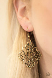 Paparazzi Elaborate Scheme - Airy Teardrop Brass Earrings - Bling It On Online