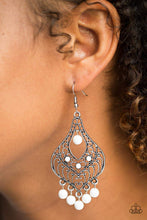 Load image into Gallery viewer, Paparazzi Elegant Enchantment - White Earrings - Bling It On Online