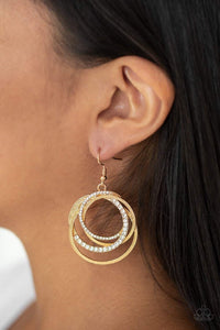 Paparazzi Elegantly Entangled - Layered White Rhinestone Hoop Gold Earrings - Bling It On Online