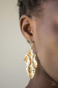 Paparazzi Fall Into Fall - Rippling Gold Leaf Frame Earrings - Bling It On Online