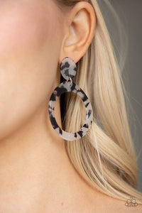 Paparazzi Fish Out Of Water - Speckled White Acrylic Retro Earrings - Bling It On Online