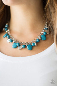 Paparazzi Flirtatiously Florida - Round and Asymmetrical Silver and Blue Bead Silver Chain Necklace - Bling It On Online