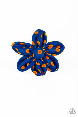 Paparazzi Flowering Farmsteads - Orange Polka Dot Blue Petal Hair Clip - Bling It On Online